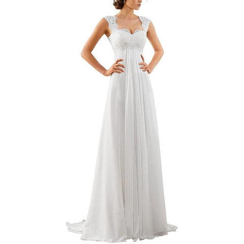 sd-hk Women's Sleeveless Lace Chiffon Evening Wedding Dresses Bridal Gowns