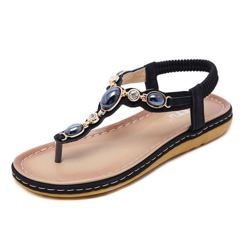 2019 Women's Sandals Bohemian Toe-clip Large Size Beach Shoes