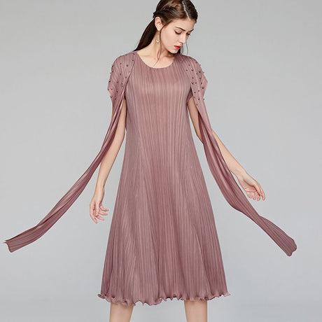 S&D co. Elegant Pleated Dress Sleeveless Loose Party Dress for Women