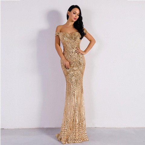 Women Sexy Elegant Glitter Dress Party Wear Long Dress