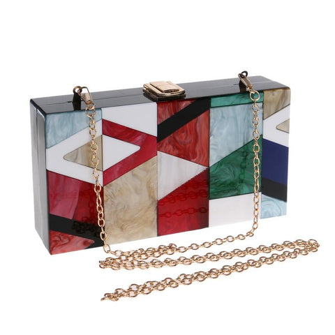Women Summer unqique acrylic geometric lattice small patry Clutch lady evening bag - S&D