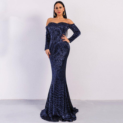 Women Sexy Off Shoulder Sequin Elegant Gown Maxi Dress