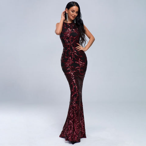 Round Neck Red Sequin Long Evening Dress