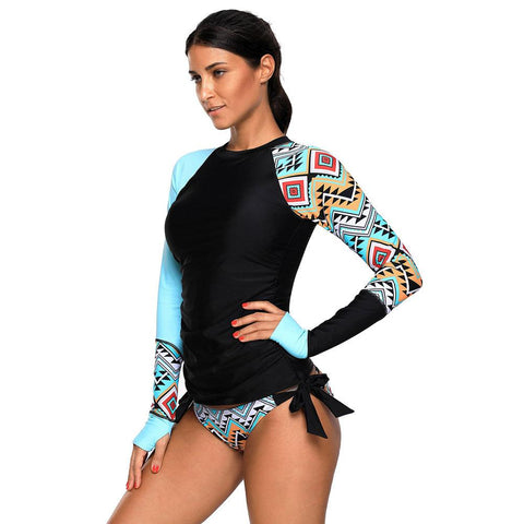 Womens Long Sleeve Color Block Print Tankini Swimsuit - S&D