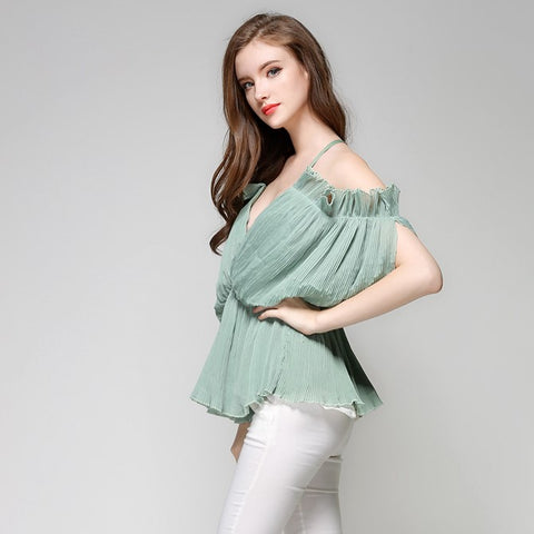 Women Shirt Chiffon V Neck Sun-top Low Cut Blouse