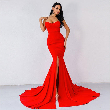 Missord High Split Red Party Gown Off Shoulder Maxi Evening Dress