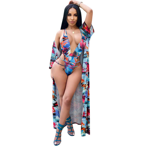 Women Sexy Floral Cover Up String Bikini Two Piece Swimsuit