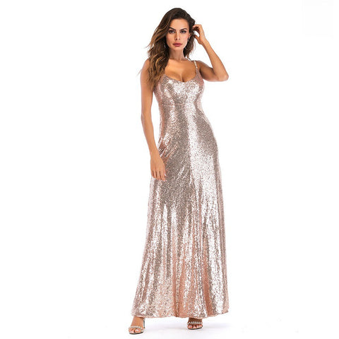 Sleeveless Backless Sequined Tee Dress Party Dress