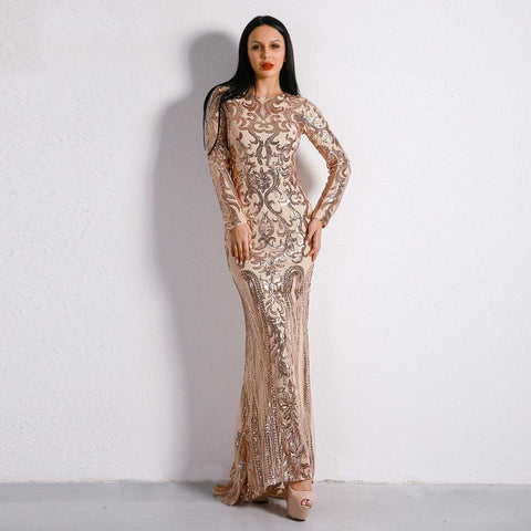 Women Long Sleeve Retro Sequin Maxi Gorgeous Dress