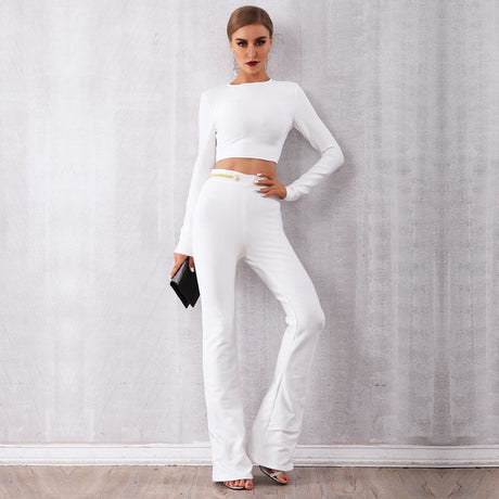 Women White Party Suits Long Sleeve Two Piece Suits
