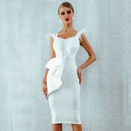 Women Dress Solid Color Sexy Silp Party Dress - S&D