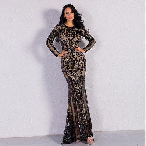 Women Sexy Long Sleeve Sequin Maxi Dress - S&D