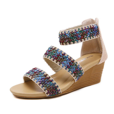 2019 Women's Sandals Roman Style Slope-heel Large Size Roman Shoes