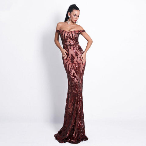 Women Sexy Bra Gown Sequin Elegant Maxi Party Dress