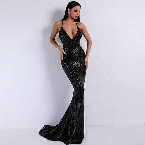 Women Bodycon Maxi Partywear Dress Elegant Evening Dress