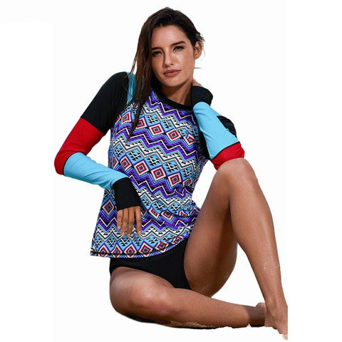Women Surfing Clothes Shirt Long Sleeve Print Swimwear Tops