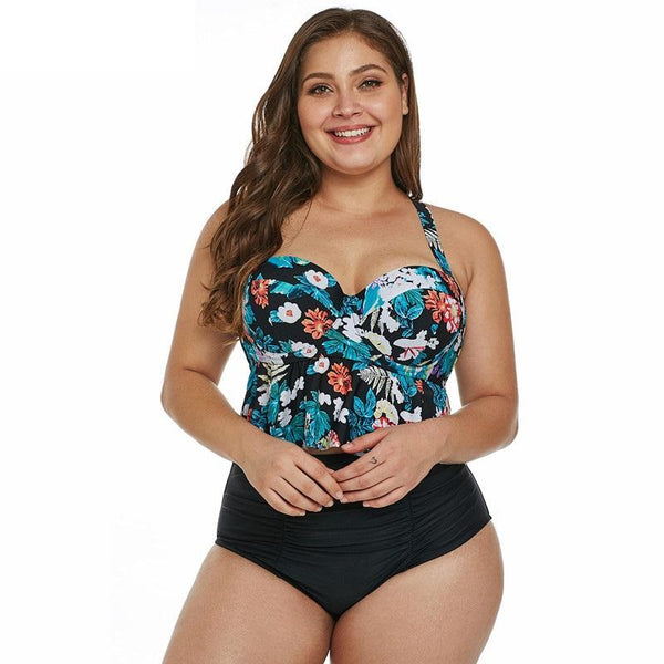 Women's High Waist Swimsuit Two-piece Plus Size Bathing Suits