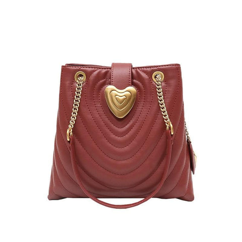 Leather Lady Bag Red Love embroidery bucket bag 2019