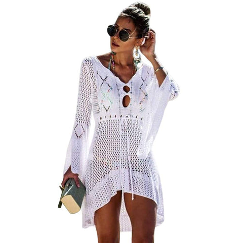Women V Neck Hollow Out flare sleeve Beach Dress