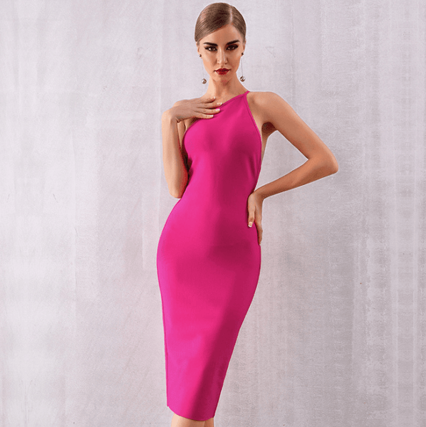 Women One Shoulder Bandage Dress Sexy Night Out Dresses Rose Vestidos