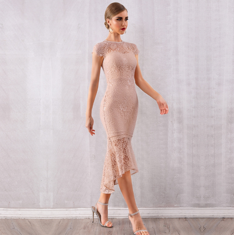 Women Elegant Bandage Dress Sexy Wedding Dresses Apricot Vestidos