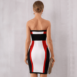 Women Sexy Club Dress Elegant Designer Stripe Midi Dresses Vestidos