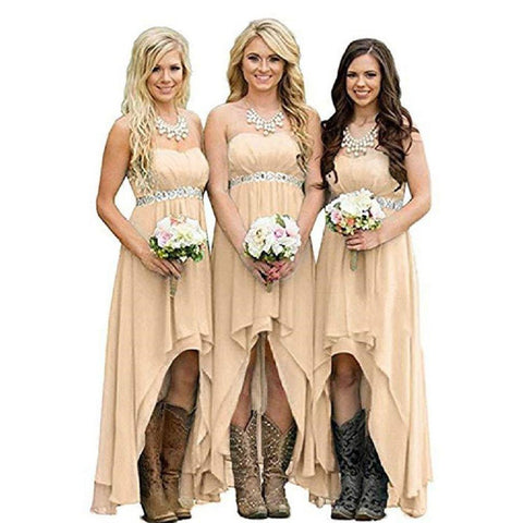 sd-hk Chiffon Bridesmaid Dresses High Low Strapless Country Bridal Wedding Dress