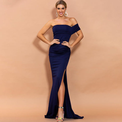 sd-hk Sexy Evening Long Dress Single Shoulder High Split Prom Dress