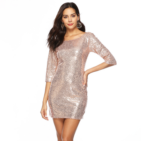 Half Sleeve Sequined Short Party Dresss