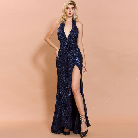 sd-hk Blue Sequin Prom Dress V Neck Sleeveless Party Dress Long