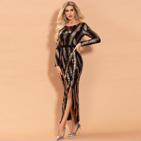 S&D co. Long Sleeve Backless Long Sequin Party Dress