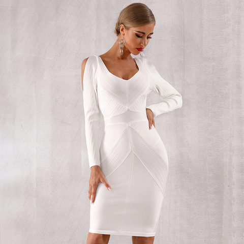 White Long Sleeve Hollow Party Dress - S&D