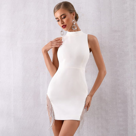 S&D co. White bandage midi dress with tassels party dress