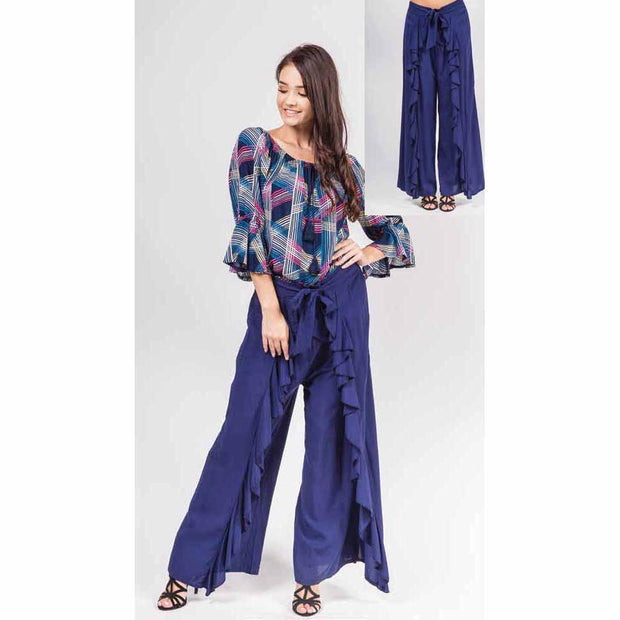 Navy Frill Wrap Pants
