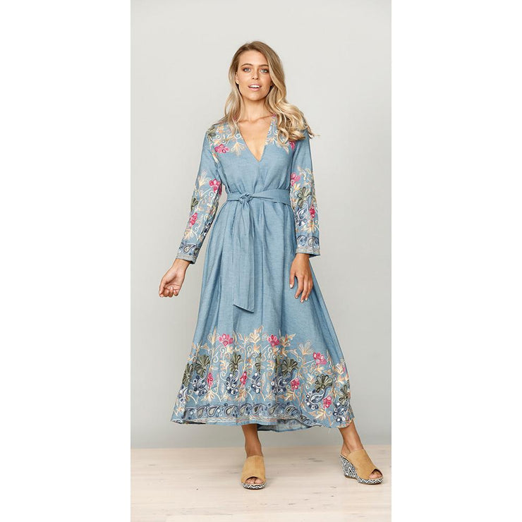 Wildflower Embroidered Denim Maxi Dress Dress Brave & True