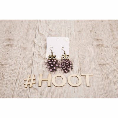 Pink Spotted Owl Feather Earrings - Fashion Jewellery Jewellery Bohemian Inspire