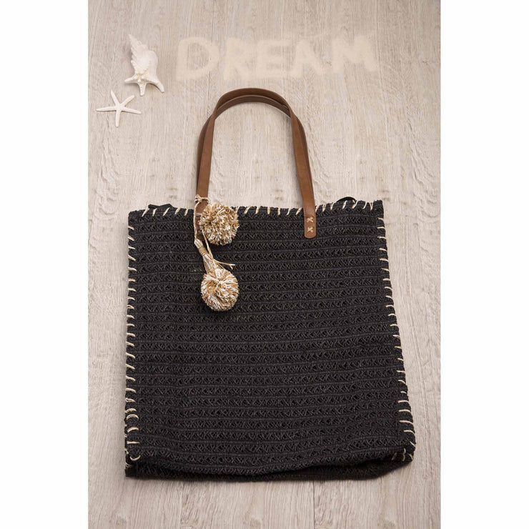Black Straw Beach Bag with Straw Pom Poms Bags Bohemian Inspire