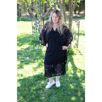 Black Midi Lace Throw Dress Dress Bohemian Inspire