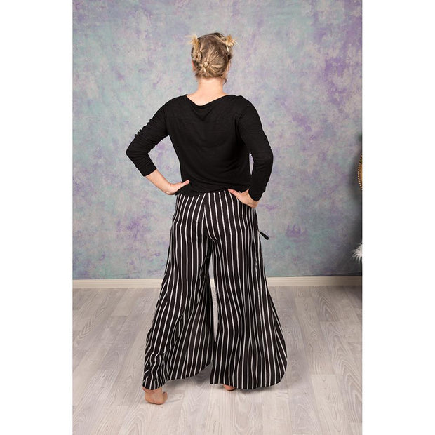 Black and White Striped Split Leg Pants