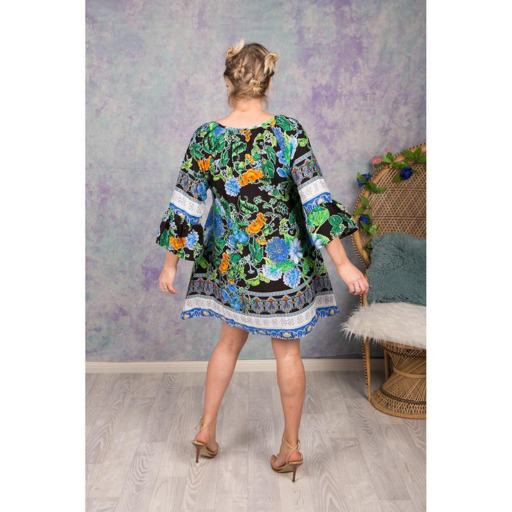 Blue and Black Missy Tunic Dress Bohemian Inspire