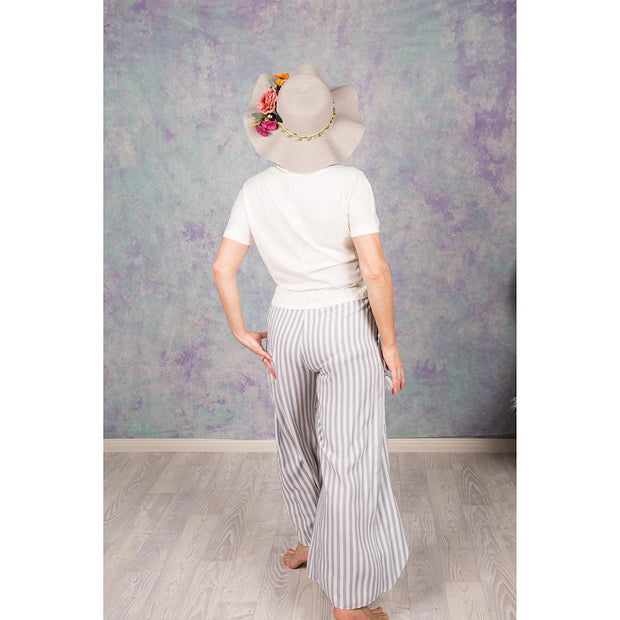 Blue and White Striped Split Leg Pants