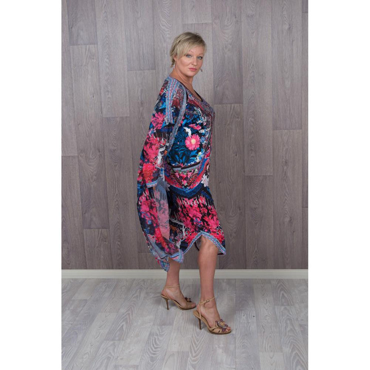 Spicy Sugar Peacocok Cold Shoulder Dress with kimono