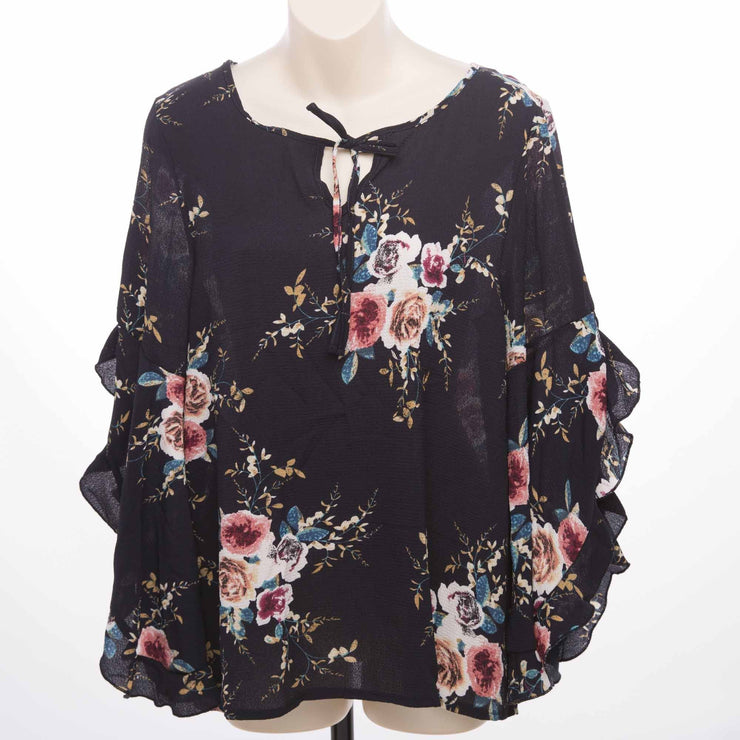 Frill Sleeved Blouse Tops Bohemian Inspire 10 Navy
