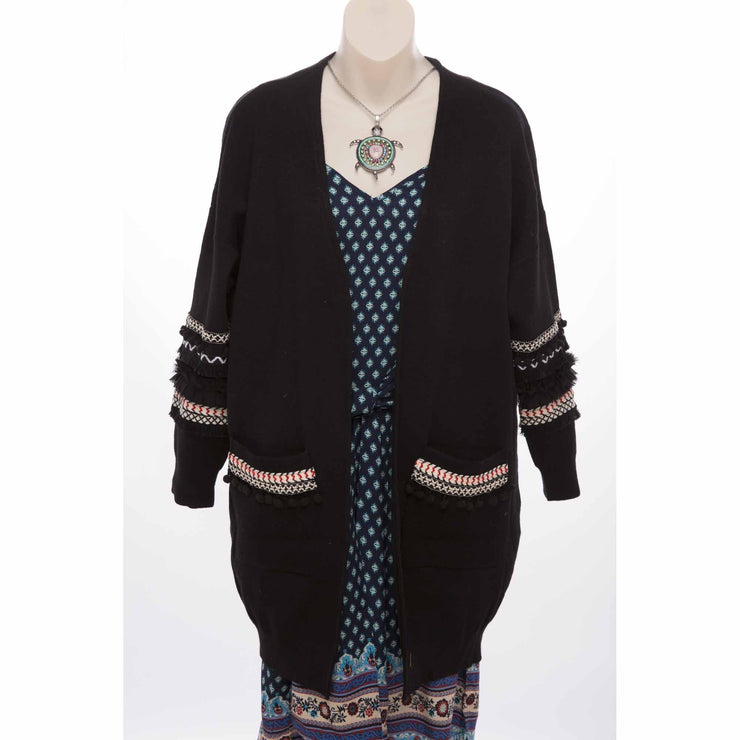 Boho Cardigan Delight with Pom Poms Knitted Jumpers and Jackets Bohemian Inspire