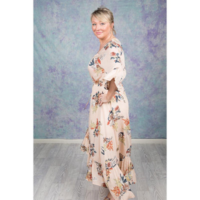 Beige Floral Maxi High Low Dress Dress Bohemian Inspire