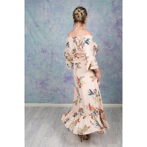 Beige Floral Maxi High Low Dress