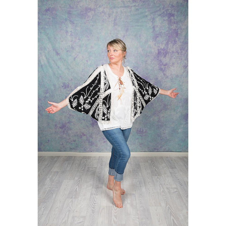 Bolero Cape Jackets Jackets Bohemian Inspire S/M Black and Cream