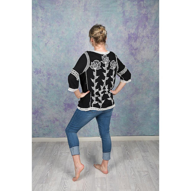 Black and White Embroidered Flower Blouse