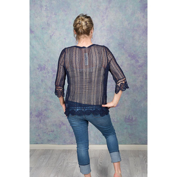 Navy Mesh Lace up Blouse