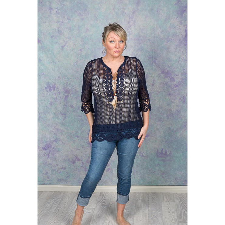 Mesh Lace up Blouse Tops Bohemian Inspire S/M Navy